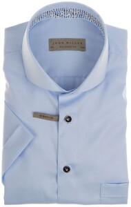 John Miller Uni Short Sleeve Cotton Overhemd Licht Blauw