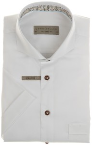 John Miller Uni Short Sleeve Cotton Overhemd Wit
