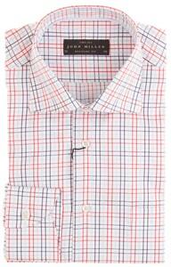 John Miller White-Font Check Overhemd Rood