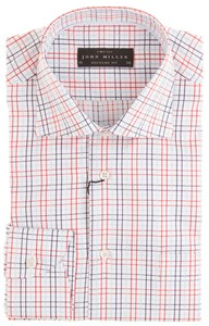 John Miller White-Font Check Shirt Red