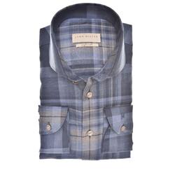 John Miller Wide Check Tailored Fit Overhemd Donker Blauw