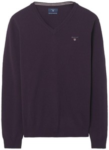 Gant Super Fine Lambswool V-Neck Muscadine Grape