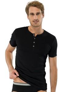 Schiesser Retro Rib Knopen Shirt Zwart