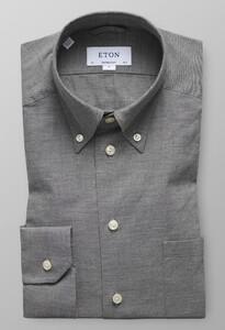 Eton Lightweight Flannel Button Down Donker Grijs Melange