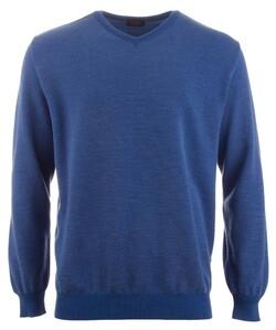 Paul & Shark Two-Tone Cool-Touch Barley Grain Wool V-Neck Midden Blauw