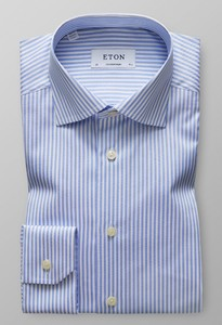 Eton Contemporary Striped Shirt Licht Blauw