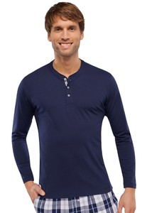 Schiesser Mix & Relax T-Shirt Knoopjes Lange Mouw Donker Blauw