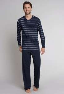 Schiesser Dark Sapphire Lange Pyjama Dark Evening Blue