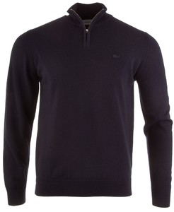 Lacoste Pure Wool Zipper Pullover Navy