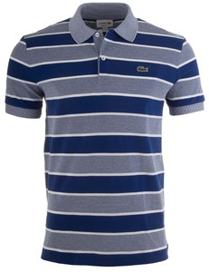 Lacoste Striped Crocodile Polo Blauw