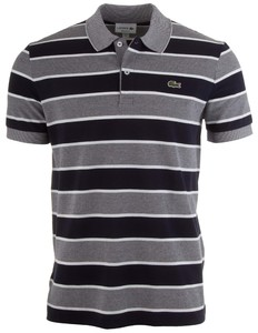 Lacoste Striped Crocodile Polo Navy
