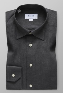 Eton Visgraat Flanel Shirt Donker Grijs Melange