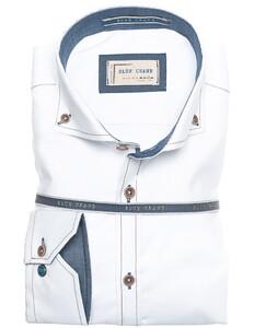 Ledûb Blue Contrasted Crane Shirt White