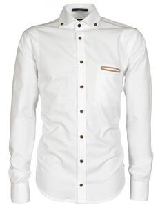 Ledûb Brown Contrasted Crane Shirt White
