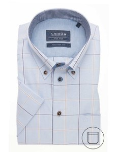 Ledûb Button Down Duo Check Overhemd Donker Blauw