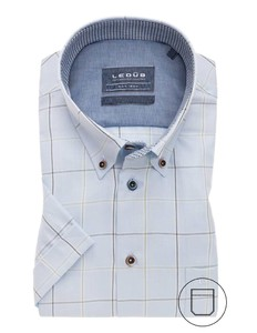 Ledûb Button Down Duo Check Overhemd Midden Groen