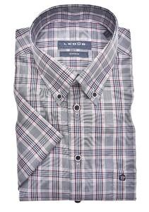 Ledûb Button Down Multi Check Short Sleeve Overhemd Donker Blauw