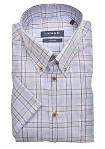 Ledûb Button Down Multi Check Short Sleeve Overhemd Lichtblauw-Beige