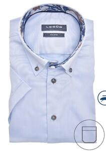 Ledûb Button Down Short Sleeve Non Iron Overhemd Licht Blauw