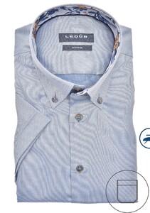 Ledûb Button Down Short Sleeve Non Iron Overhemd Midden Blauw