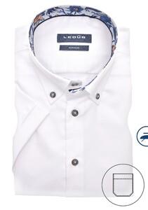 Ledûb Button Down Short Sleeve Non Iron Overhemd Wit
