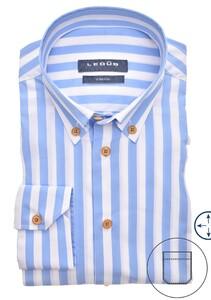 Ledûb Button Down Stripe Stretch Overhemd Licht Blauw