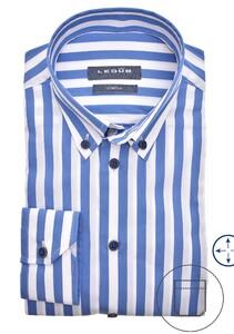 Ledûb Button Down Stripe Stretch Overhemd Midden Blauw