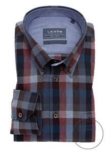 Ledûb Check Button Down Easy Iron Overhemd Rood-Blauw