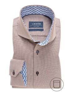 Ledûb Collar Contrasted Non-Iron Twill Overhemd Midden Bruin