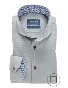 Ledûb Collar Contrasted Non-Iron Twill Overhemd Midden Groen