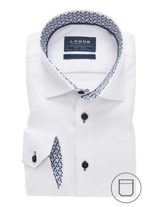 Ledûb Collar Contrasted Non-Iron Twill Overhemd Wit