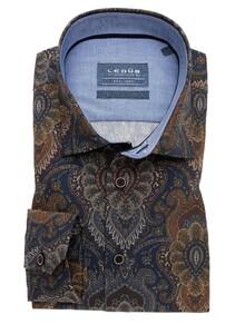 Ledûb Contrast Semi Spread Overhemd Donker Blauw