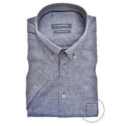 Ledûb Contrasted Linen Modern Fit Overhemd Blauw