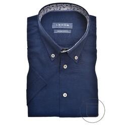 Ledûb Contrasted Linen Modern Fit Overhemd Donker Blauw