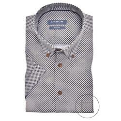Ledûb Dandelion Dot Modern Fit Overhemd Midden Bruin