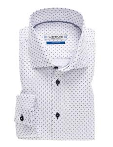 Ledûb Fantasy Dot Overhemd Wit-Blauw
