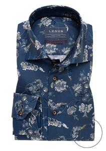 Ledûb Fantasy Floral Easy Iron Overhemd Donker Blauw
