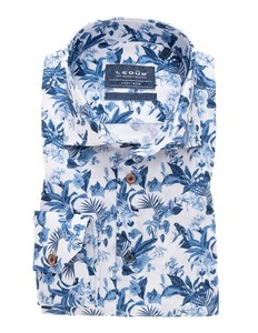 Ledûb Fantasy Leaf Pattern Overhemd Midden Blauw