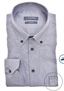Ledûb Fantasy Mini Check Button Down Overhemd Donker Blauw