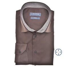 Ledûb Faux Contrast Modern Fit Overhemd Donker Bruin