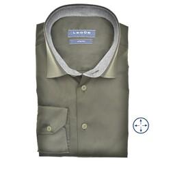 Ledûb Faux Contrast Modern Fit Overhemd Donker Groen