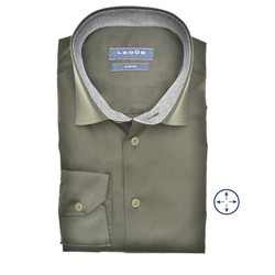 Ledûb Faux Contrast Modern Fit Shirt Dark Green
