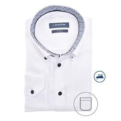 Ledûb Faux Dot Contrast Modern Fit Overhemd Wit