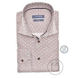 Ledûb Faux Dot Modern Fit Overhemd Midden Rood
