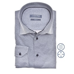 Ledûb Faux Uni Modern Fit Overhemd Midden Blauw