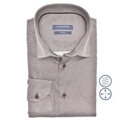 Ledûb Faux Uni Modern Fit Overhemd Midden Bruin