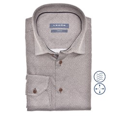 Ledûb Faux Uni Modern Fit Shirt Mid Brown