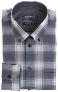 Ledûb Fine Multiline Check Overhemd Donker Blauw