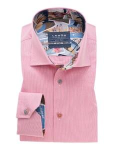 Ledûb Fine Striped Contrast Shirt Dark Pink