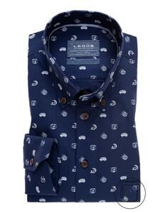 Ledûb Good Vibes Extra lange Mouw Overhemd Donker Blauw